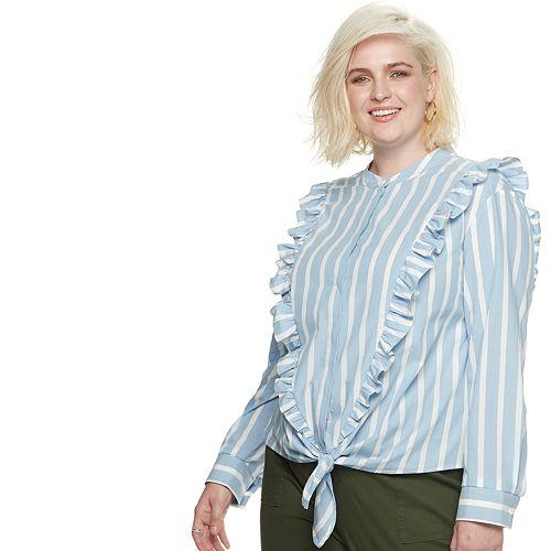 Plus Size POPSUGAR Ruffled Knot-Front Shirt