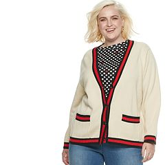 Plus Size POPSUGAR Varsity Striped Cardigan Sweater