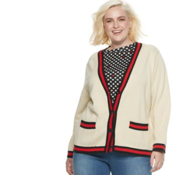 Plus Size POPSUGAR Varsity Striped Cardigan Sweater