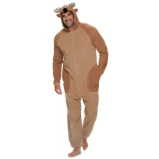 Big & Tall Jammies For Your Families Reindeer Microfleece One-Piece Pajamas