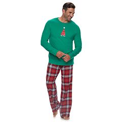 Big & Tall Jammies For Your Families Happy Holidays Family Pajamas Top & Flannel Bottoms Set