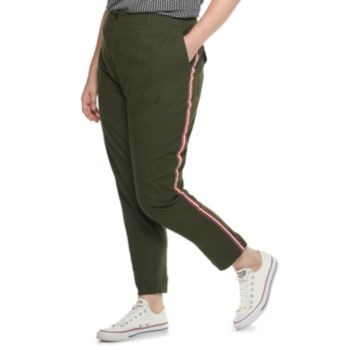 Plus Size POPSUGAR Constrast-Stripe Ankle Pants