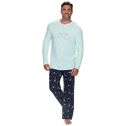 Big & Tall Jammies For Your Families Skating Flamingos Top & Bottoms Pajama Set