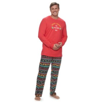 """Big & Tall Jammies For Your Families """"Guacin' Around the Christmas Tree"""" Top & Holiday Taco Party Fairisle Bottoms Set"""