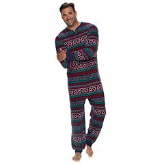 Big & Tall Jammies For Your Families Gingerbread Man Holiday Fairisle Microfleece One-Piece Pajamas