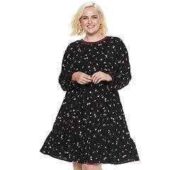 Plus Size POPSUGAR Flounce-Hem Mini Dress