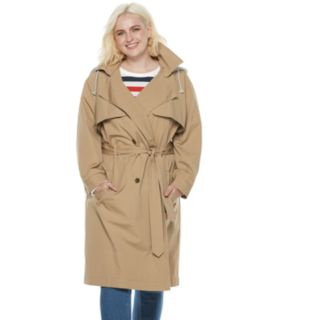Plus Size POPSUGAR Hooded Chambray Trench Coat
