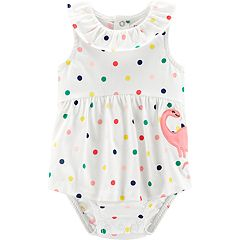 Baby Girl Carter's Polka-Dot Dinosaur Sunsuit