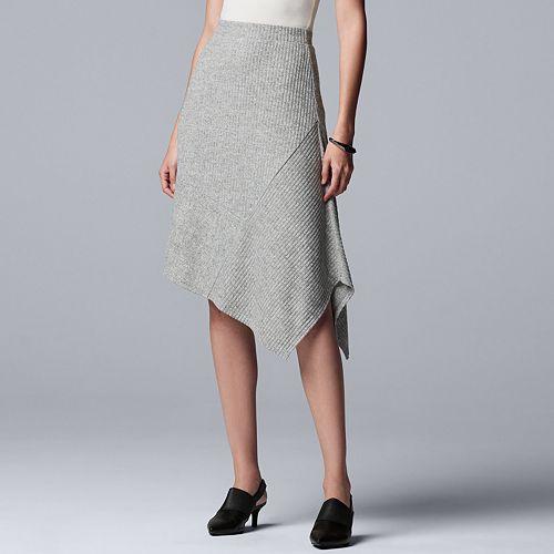 Women's Simply Vera Vera Wang Asymmetrical-Hem Sweater Skirt