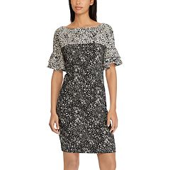 Women's Chaps Floral Ruffle-Sleeve Sheath Dress