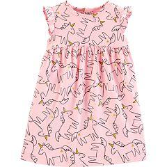 Baby Girl Carter's Glitter Unicorn Babydoll Dress