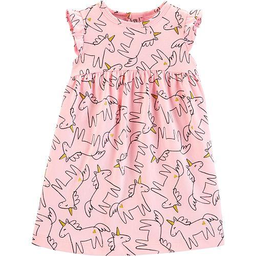 3b2a1012e64e Baby Girl Carter's Glitter Unicorn Babydoll Dress