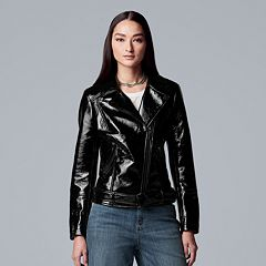 Women's Simply Vera Vera Wang Shiny Faux-Leather Moto Jacket