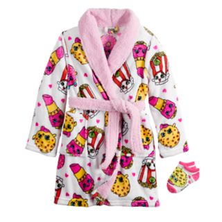 Girls 6-12 Shopkins Plush Knee-Length Robe wth Socks
