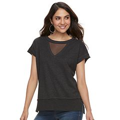 Women's Rock & Republic® Mesh Inset French Terry Sweatshirt
