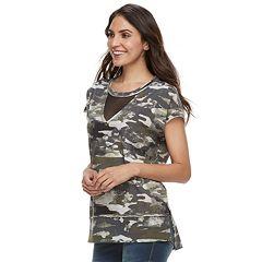 Women's Rock & Republic® Mesh Inset French Terry Sweatshirt