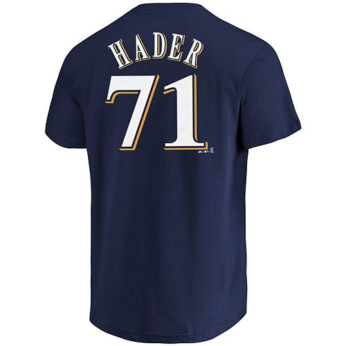 Men's Majestic Milwaukee Brewers Josh Hader Name & Number Tee