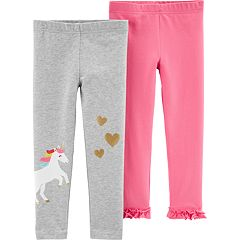 Toddler Girl Carter's 2-pack Glittery Unicorn & Ruffled-Hem Leggings