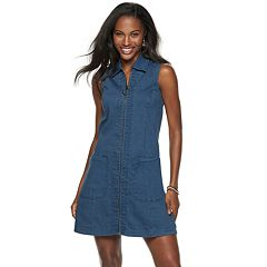 Women's Sharagano Zip-Front Sleeveless Denim Dress