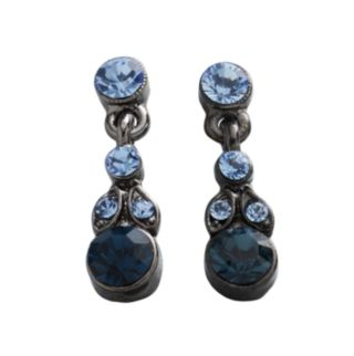 1928 Jet Blue Simulated Crystal Drop Earrings