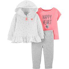 Baby Girl Carter's 'Happy Heart' Tee, Glittery Heart Hoodie & Striped Leggings Set