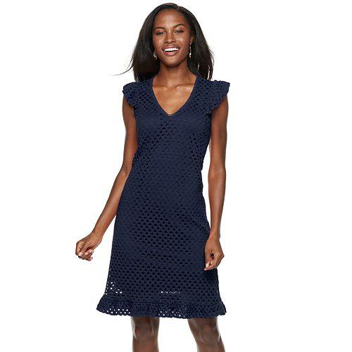 Women's Sharagano Ruffle Trim Lace Dress