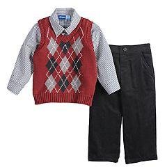 Toddler Boy Great Guy Argyle Sweater Vest, Shirt & Pants Set