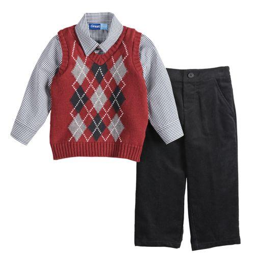Toddler Boy Great Guy Argyle Sweater Vest Shirt Pants Set