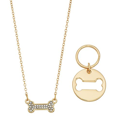 Pet Friends Simulated Crystal Dog Bone Pendant and Cutout Charm Necklace
