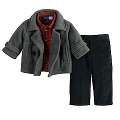 Toddler Boy Great Guy Midweight Peacoat Jacket, Plaid Shirt & Pants Set