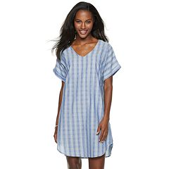 Women's Sharagano Short Sleeve V-Neck Shirt Dress