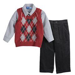 Baby Boy Great Guy Argyle Sweater Vest, Shirt & Pants Set
