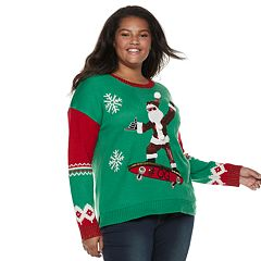 Juniors' Plus Size It's Our Time Skateboard Santa Christmas Sweater