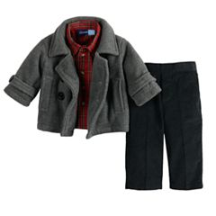 Baby Boy Great Guy Midweight Peacoat Jacket, Plaid Shirt & Pants Set