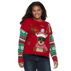 Juniors' Plus Size It's Our Time Reindeer Sunglasses Christmas Sweater
