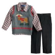 Baby Boy Great Guy Moose Knit Sweater Vest, Plaid Shirt & Pants Set