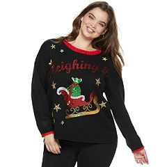 Juniors' Plus Size It's Our Time 'Sleighing It' Christmas Sweater