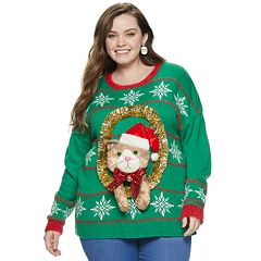 Juniors' Plus Size It's Our Time Cat Wreath Christmas Sweater