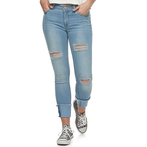 Juniors' Almost Famous Mid-Rise Ripped Ankle Skinny Jeans