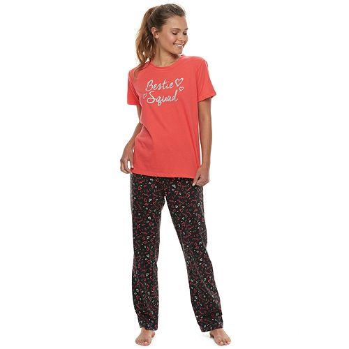Juniors' SO® Graphic Tee & Pants Pajama Set