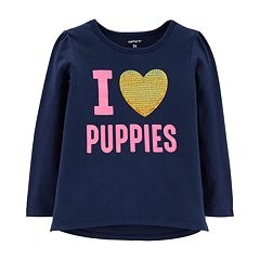 Toddler Girl Carter's 'I Love Puppies' Sequined Graphic Tee