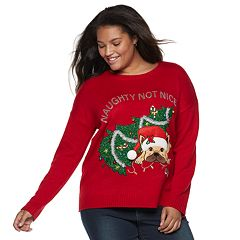 Juniors' Plus Size It's Our Time 'Naughty Not Nice' Dog Christmas Sweater