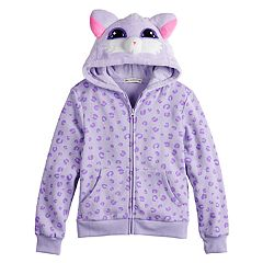 Girls 7-16 Mad Engine Kitty Zip Front Fleece Hoodie