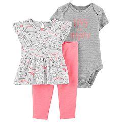Baby Girl Carter's Dinosaur Flutter Top, Bodysuit & Leggings Set