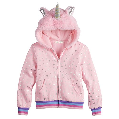Girls 7-16 Mad Engine Unicorn Zip Front Fleece Hoodie