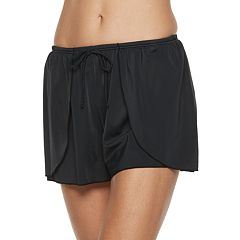 Women's A Shore Fit Hip Minimizer Faux-Wrap Swim Shorts