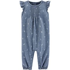 Baby Girl Carter's Embroidered Chambray Jumpsuit