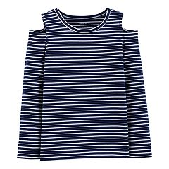 Girls 4-14 Carter's Striped Cold-Shoulder Tee