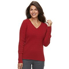 Women's Croft & Barrow® Essential Cable Knit V-Neck Sweater