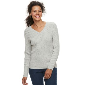 Women s Croft   Barrow® Classic Cable Knit V-Neck Sweater 48b76de1a